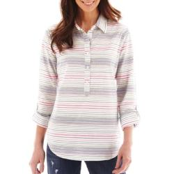 Liz Claiborne  - Long-Sleeve Striped Shirt