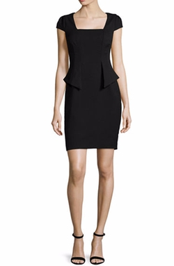 Carmen by Carmen Marc Valvo  - Cap-Sleeve Split-Peplum Sheath Dress
