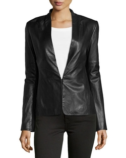 Halston Heritage - Knit-Panel Leather Blazer, Black