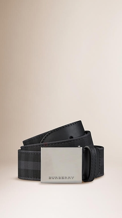 Burberry - Horseferry Check Plaque Buckle Belt