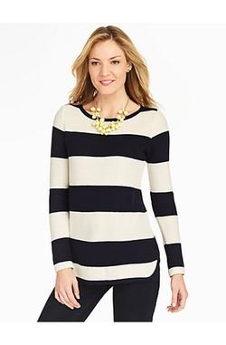 Talbots - Stripe Piqué Curved-Hem Sweater