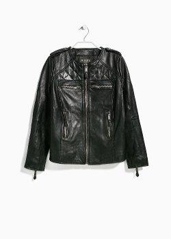 Mango - Multi-Pocket Leather Jacket
