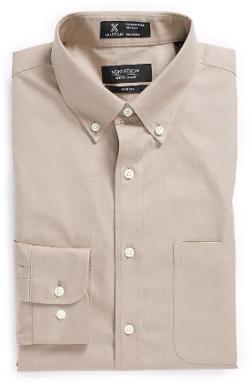 Nordstrom - Smartcare Wrinkle Free Solid Pinpoint Cotton Trim Fit Dress Shirt