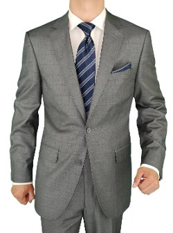 Salvatore Exte - 2 Button Windowpane Silver Gray Suit