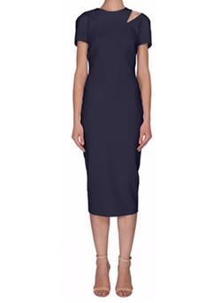 Victoria Beckham - Short-Sleeve Cutout Midi Dress
