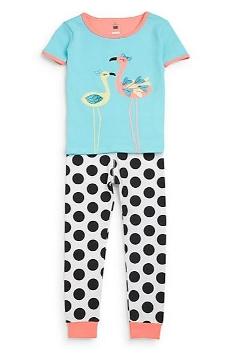 Petit Lem Sleep - Flamingo Polka Dot Pajama Set