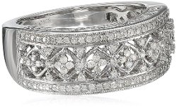 Amazon Curated Collection - Sterling Silver Diamond Lattice Ring