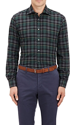 Luciano Barbera  - Plaid Flannel Dress Shirt
