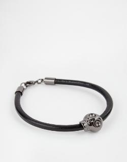 Noose & Monkey - Leather Cord Skull Bracelet