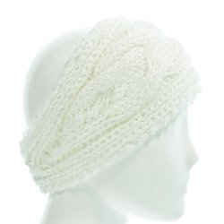 Hand by Hand - Cable Pattern Knitted Adjustable Buttons Cozy Headwrap Headband