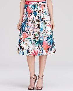 Nicole Miller - Botanical Print Neoprene Flounce Skirt