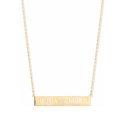 Sarah Chloe - Leigh Engraved Bar Pendant Necklace