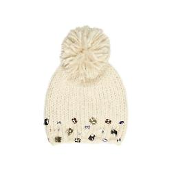 River Island - Girls Cream Gem Bobble Beanie Hat