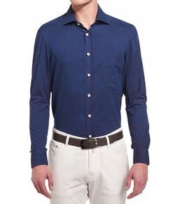 Kiton - Solid Long-Sleeve Twill Sport Shirt