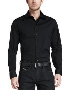 Armani Collezioni - Stretch-Poplin Sport Shirt, Black