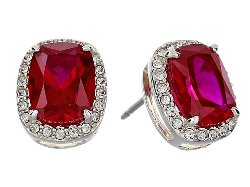 Judith Jack  - Radiance Crystal/Red Corundum Stud Earrings