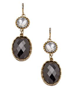 Max & Chloe - Blu Bijoux Gold Crystal And Hematite Double Drop Earrings