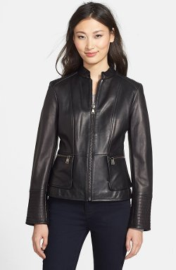 Nicole Miller - Lambskin Leather Peplum Jacket
