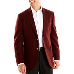 Stafford - Executive Burgundy Hopsack Blazer