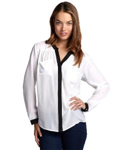 Wyatt - White And Black Colorblock Lightweight Sheer Button Front Blouse
