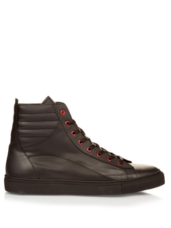 Raf Simons - Contrast-Eyelet Leather High-Top Trainers