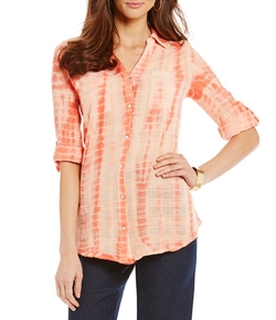 Intro  - Textured Gauze Rope Dye-Print Woven Blouse