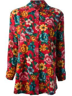Kenzo Vintage - Floral print blouse and skirt ensemble