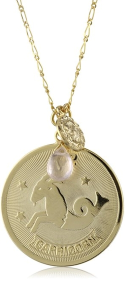 A.V. Max  - Capricorn Coin And Teardrop Stone Pendant Necklace