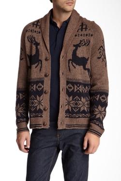 Weatherproof - Jacquard Reindeer Wool Blend Cardigan