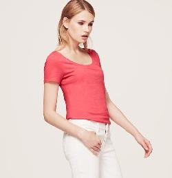 Loft - Sunwashed Scoop Neck Tee
