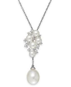 Arabella - Cultured Freshwater Pearl and Swarovski Zirconia Pendant Necklace In Sterling Silver