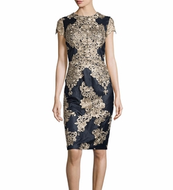 David Meister - Short-Sleeve Embroidered Cocktail Dress