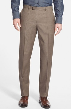 Boss - Flat Front Check Wool Trousers