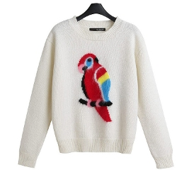 Zarop - Beige Round Neck Long Sleeved Parrot Pattern Sweater