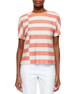 Tory Burch	  - Short-Sleeve Striped Tee