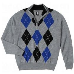 FootJoy Performance - Half Zip Lined Sweater Steel Argyle Medium