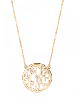 Baubel Bar - Circle Script Letter Monogram Necklace