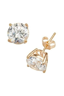 Natasha Couture Fashion - Gold Cubic Zirconia Stud Earrings