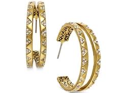 House of Harlow - Gold-Tone White Pavé Split Hoop Earrings