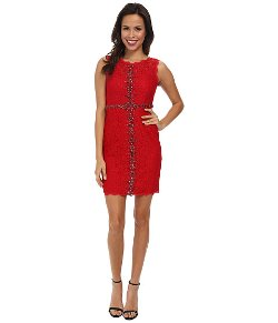 Adrianna Papell  - Sleeveless Embellished Lace Dress