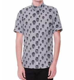 Alexander McQueen  - Skull-Print Striped Short-Sleeve Shirt