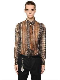 Roberto Cavalli   - Snake Printed Silk Cotton Shirt