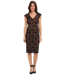 ABS Allen Schwartz  - Deep V Stretch Lace Sheath Dress