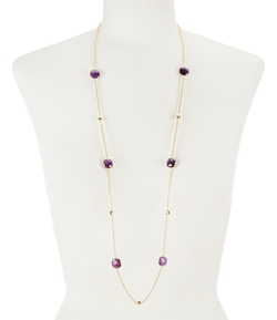 Mela Artisans - Delilah Cushion-Cut Amethyst Station Necklace