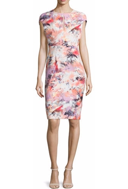 Black Halo - Cap-Sleeve Floral-Print Sheath Dress