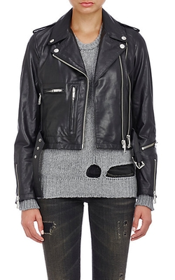 R13 - Leather Crop Moto Jacket