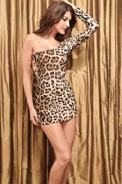 Maykool - Leopard Print One Shoulder Sexy Mini Dress