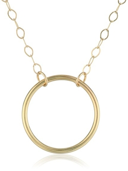 Amazon Collection - Yellow Gold Sliding Circle Pendant Necklace
