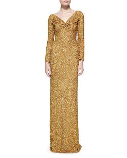 Marc Bouwer   - Long-Sleeve Sequined Column Gown