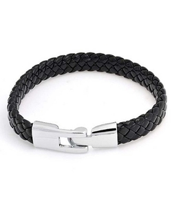 Bling Jewelry  - Black Braided Flat Leather Cord Bracelet